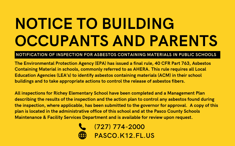 NOTICE TO BUILDING OCCUPANTS AND PARENTS