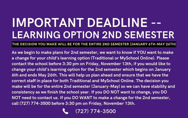 Important Deadline – Learning Option